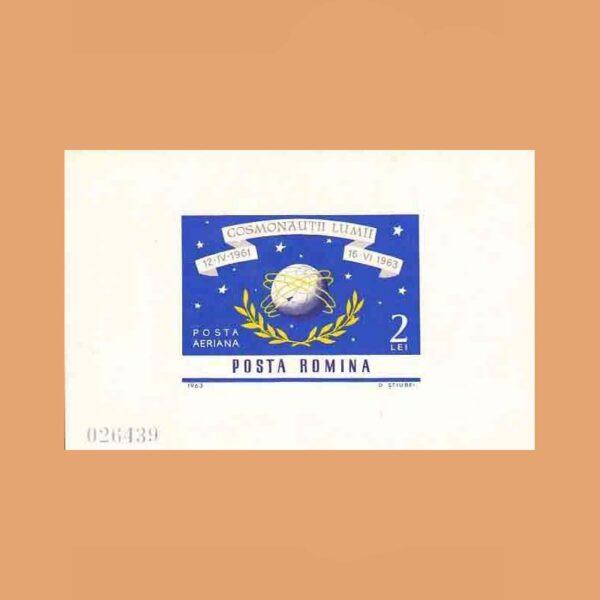 Rumanía BF57. Hoja Conquista del Espacio **1964