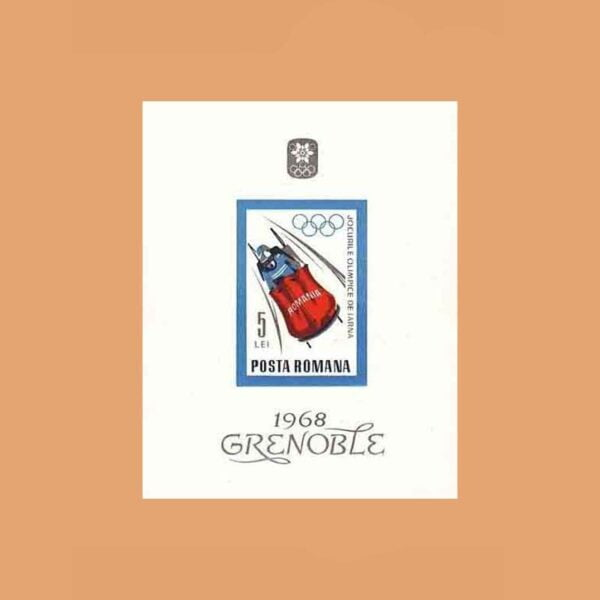 Rumanía BF65. Hoja Juegos Olímpicos Grenoble **1967