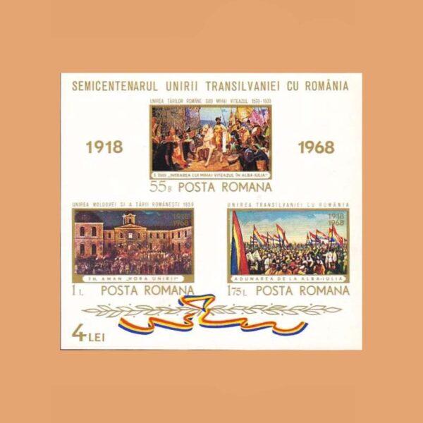 Rumanía BF69. Hoja Aniversario de la Anexión de Transilvania a Rumanía **1968
