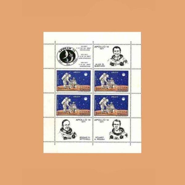 Rumanía BF83. Hoja Apolo 14 **1971