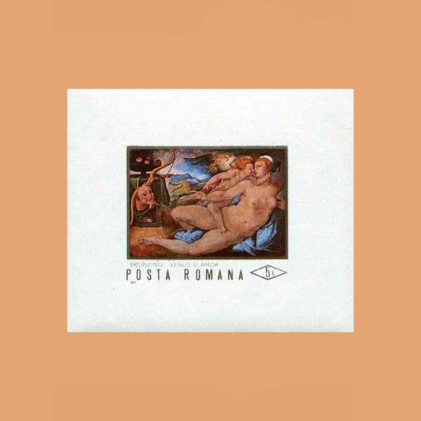 Rumanía BF88. Hoja Bronzino. Venus y el amor **1971