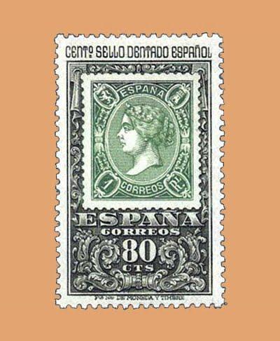 Edifil 1689. Centenario Sello Dentado. Sello 80cts **1965
