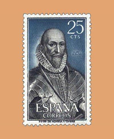 Edifil 1705. Personajes. Álvaro de Bazán. Sello 25 cts. **1966