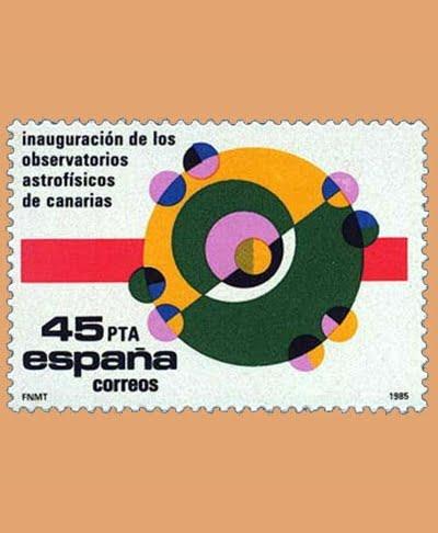 Edifil 2802. Observatorios Astrofísicos de Canarias. Sello 45 ptas. **1985