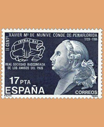 Edifil 2824. Xavier María de Munive, Conde de Peñaflorida. **1985