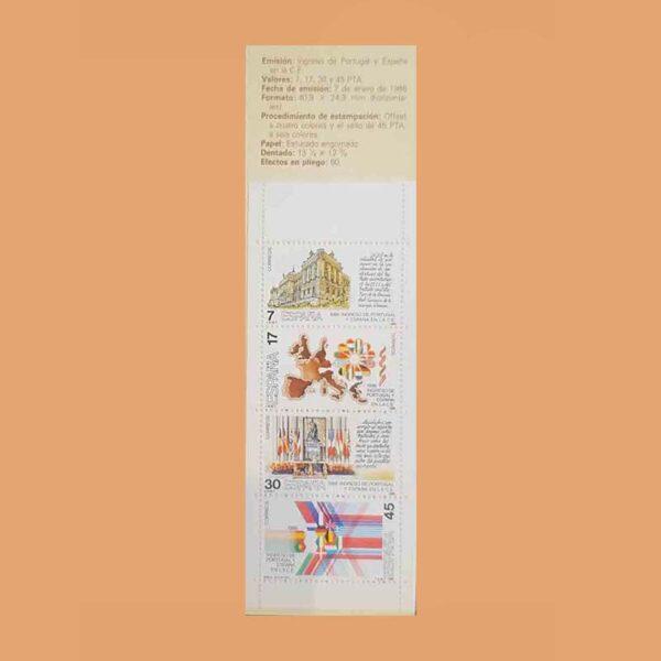 Edifil 2825C. Carné Ingreso de Portugal y España en la CE. **1986