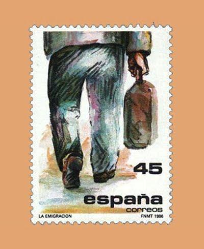 Edifil 2846. La Emigración. Sello 45 ptas. **1986