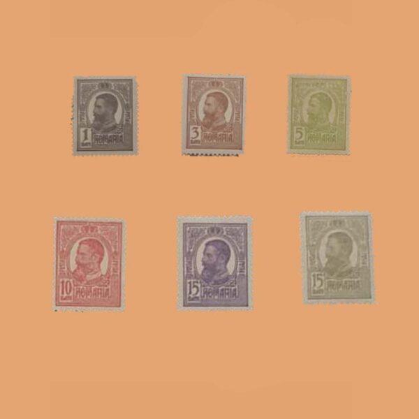 RO 215/20. Serie Carol I Tipografiados. 6 Valores *1909