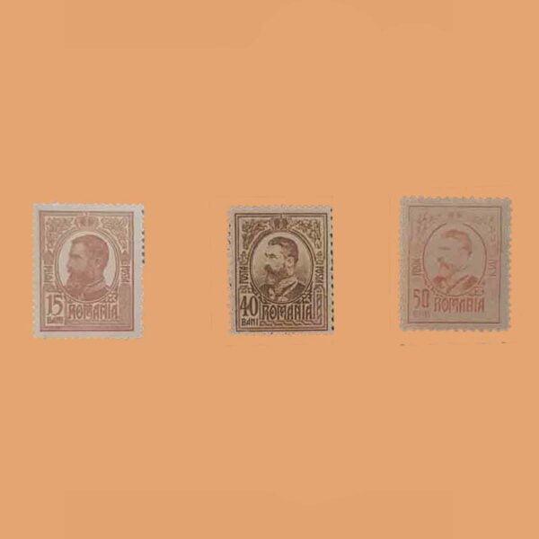 RO 250/2. Serie Carol I. 3 Valores *1918