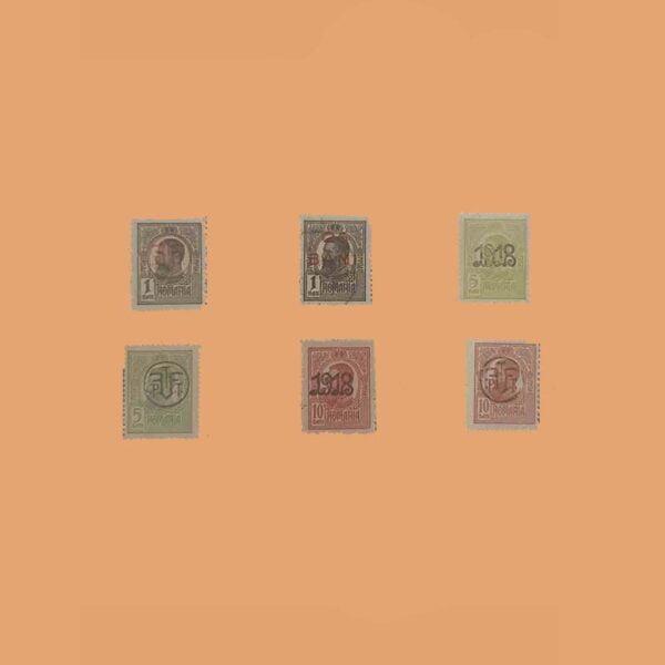 RO 258/60. Serie Carol I sobrecargados. 6 Valores *1918
