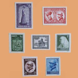 RO 302/8-SD. Serie Coronación Rey Ferdinand. 7 valores Sin dentar *1922