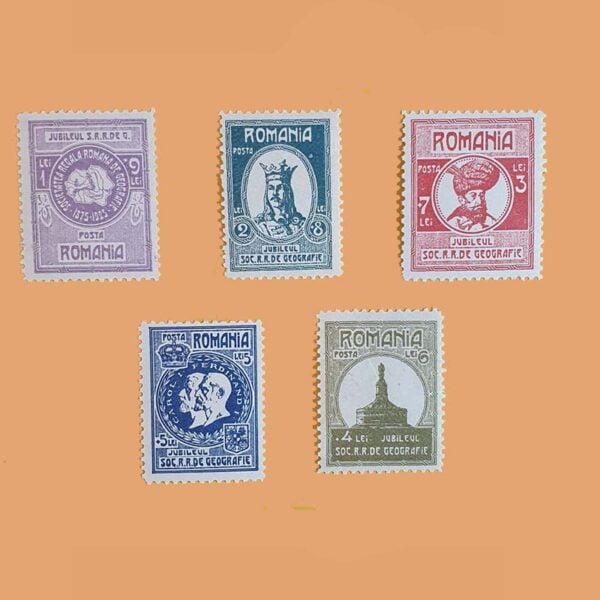 RO 319/23. Serie Sociedad Geográfica. 5 valores **1927