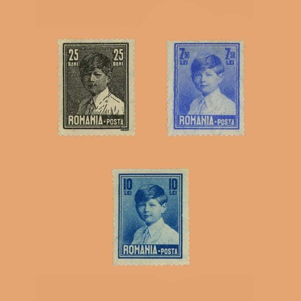 RO 355/7. Serie Rey Michael I. 3 valores *1928