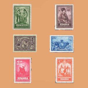 RO 365/70. Serie Aniversario Unión de Transilvania. 6 valores **1929