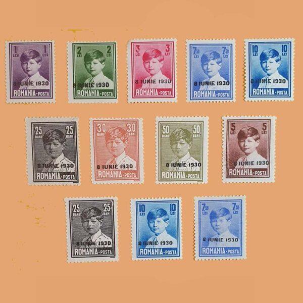 RO 376/87. Serie Rey Carol II. 12 valores *1930