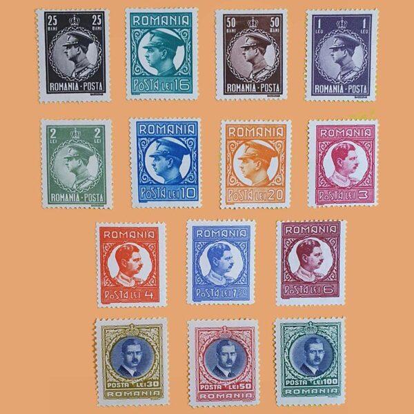 RO 388/401. Serie Rey Carol II. 14 valores *1930