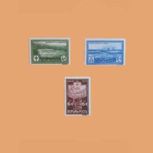 RO 449/51. Serie Empleados de P.T.T. 3 valores. **1932