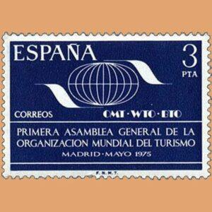 Edifil 2262. Organización Mundial del Turismo. Sello 3 pts. **1975