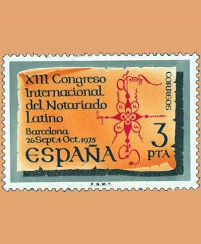 Edifil 2283. Notariado Latino. Sello 3 pts. **1975