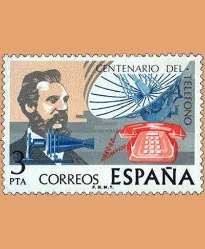 Edifil 2311. Centenario del Teléfono. Sello 3 pts. **1976