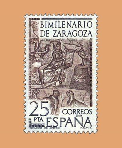 Edifil 2321. Mosaico de Orfeo. Sello 25 pts. **1976