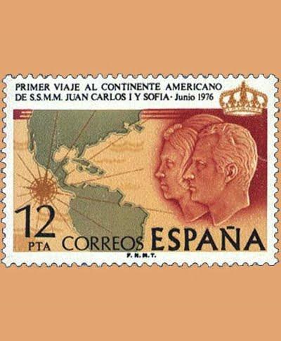 Edifil 2333. Viaje Continente Americano. Sello 12 pts. **1976