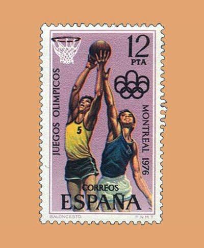 Edifil 2343. Baloncesto JJOO Montreal. Sello 12 pts. **1976