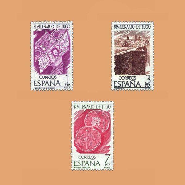 Edifil 2356/8. Serie Bimilenario de Lugo. **1976