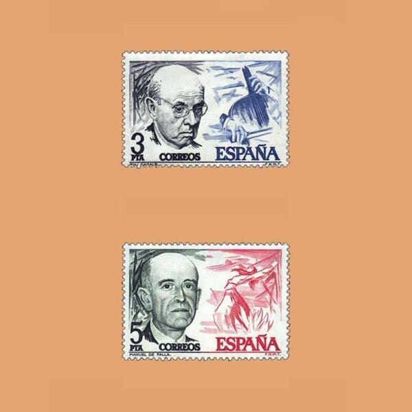 Edifil 2379/80. Serie Pau Casals y Manuel de Falla. **1976