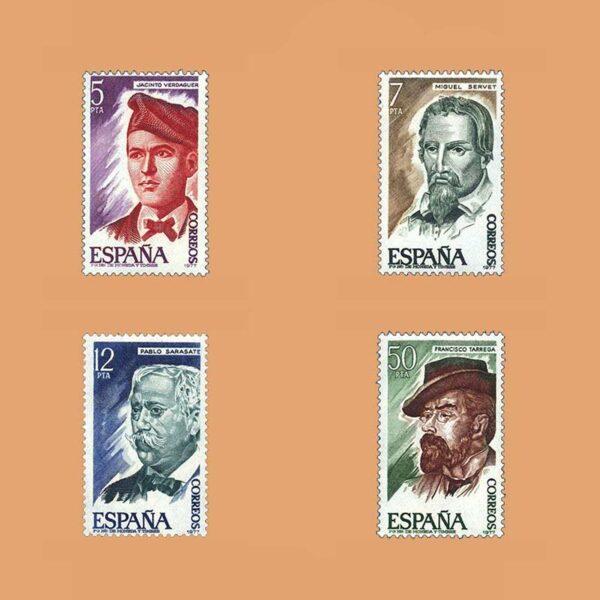 Edifil 2398/401. Serie Personajes Españoles. **1977
