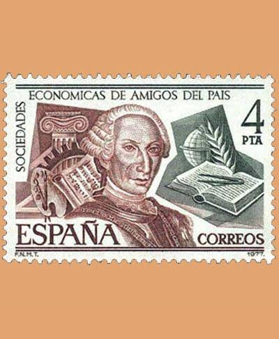 Edifil 2402. Sociedades Económicas de Amigos del País. Sello 4 pts. **1977