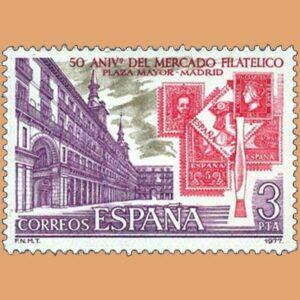 Edifil 2415. Mercado filatélico de la Plaza Mayor. Sello 3 pts. **1977