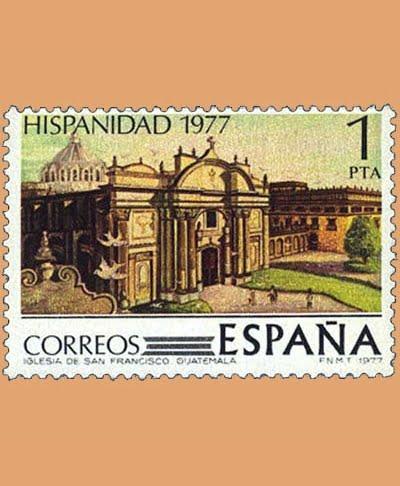 Edifil 2439. Iglesia S. Francisco de Guatemala. Sello 1 pts. **1977