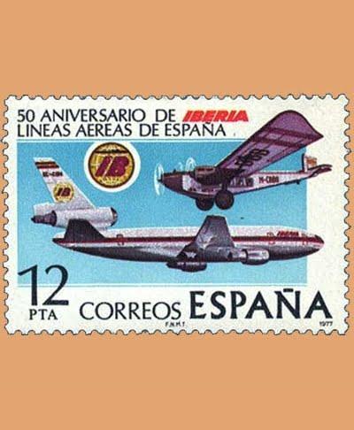 Edifil 2448. Aniversario de Iberia. Sello 12 pts. **1977