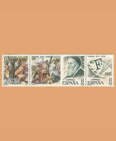 Edifil 2466/8. Tríptico Tiziano. Sello 8 pts x 3. **1978