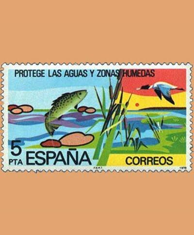 Edifil 2470. Protege las aguas. Sello 5 pts. **1978