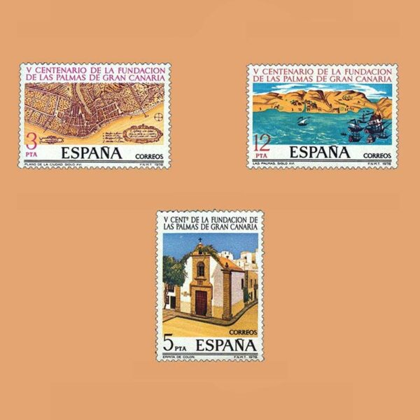 Edifil 2477/9. Serie Fundación de Las Palmas. **1978