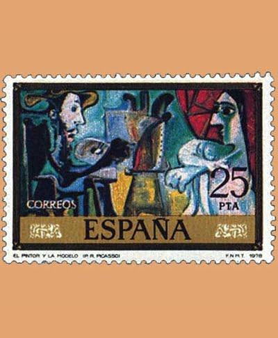 Edifil 2488. El pintor y la modelo por Picasso. Sello 25 pts. **1978