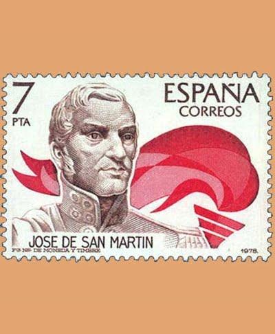 Edifil 2489. José de San Martín. Sello 7 pts. **1978