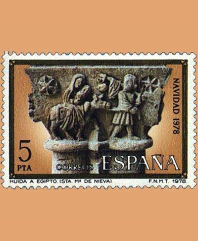 Edifil 2491. Huida a Egipto. Sello 5 pts. **1978