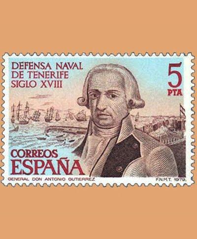 Edifil 2536. Defensa Naval de Tenerife. Sello 5 pts. **1979