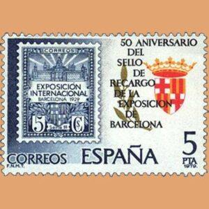 Edifil 2549. Sello Recargo Expo Barcelona. Sello 5 pts. **1979