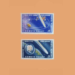 Rumanía PA299/300. Serie Cometa Halley. 2 valores **1986