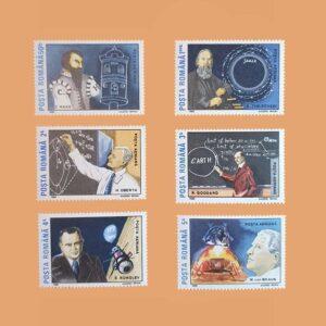 Rumanía PA307/12. Serie Pioneros del Espacio. 6 valores **1989