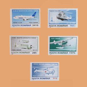 Rumanía PA321/5. Serie Transporte Aéreo. 5 valores **1995