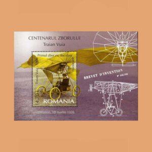 Rumanía BF303. Hoja Centenario del vuelo Traian Vuia **2006