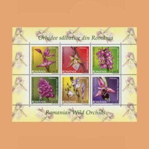 Rumanía BF328. Hoja Orquídeas **2007